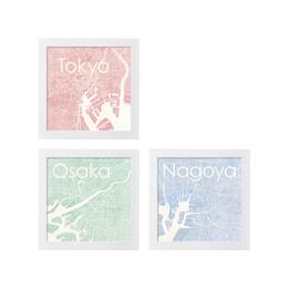 poster TOKYO OSAKA NAGOYA WATERCOLOR MAP 1L